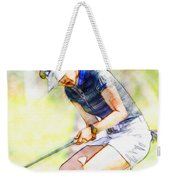 Michelle Wie Reacts After Missing A Putt On The 15th Hole Weekender Tote Bag