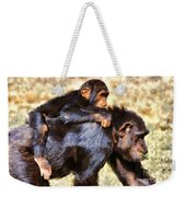 Mother Chimpanzee With Baby On Her Back Weekender Tote Bag