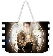 Movie Man Holding Cinema Popcorn Bucket At Film Weekender Tote Bag