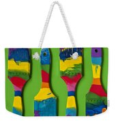 Multicolored Paint Brushes On Green Background Weekender Tote Bag
