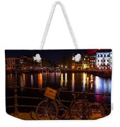 Night Lights On The Amsterdam Canals. Holland Weekender Tote Bag