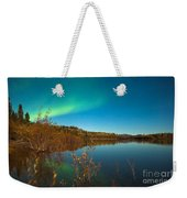 Northern Lights And Fall Colors At Calm Lake Weekender Tote Bag