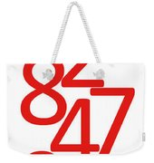Numbers In Red And White Weekender Tote Bag