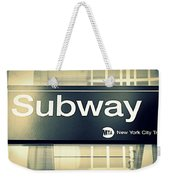 Nyc Subway Sign Weekender Tote Bag