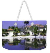Oil Painting - Cottages And Lagoon Water In Alleppey Weekender Tote Bag