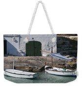 Typical Mediterranean Fishermen Boat And House In Minorca Island - Old Fishermen Villa Weekender Tote Bag