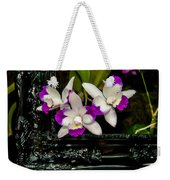 Orchid Flowers Growing Through Old Wooden Picture Frame Weekender Tote Bag