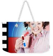 Overjoyed Nerd Woman At 3d Movie Premier Weekender Tote Bag