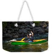 Paddler In A Whitewater Canoe Weekender Tote Bag