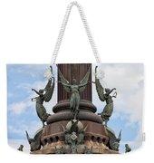 Pedestal Of Columbus Monument In Barcelona Weekender Tote Bag