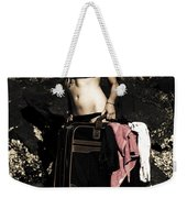 Person On A Vintage Vacation Weekender Tote Bag