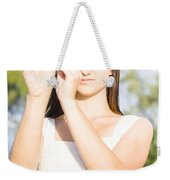 Person With Monocular Weekender Tote Bag