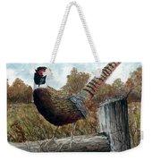 Pheasant On Fence Weekender Tote Bag