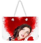 Photo Of Romantic Woman Holding Heart Shape Candy Weekender Tote Bag