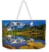 Picture Lake Weekender Tote Bag by Inge Johnsson