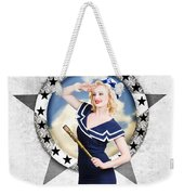 Pin-up Sailor Girl On Boat. Holiday Abroad Weekender Tote Bag
