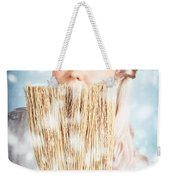 Pin-up Woman Cleaning Up In Cold Blue Winter Snow Weekender Tote Bag
