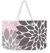 Pink Gray Peony Flowers Weekender Tote Bag
