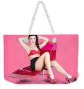 Pink Pin-up Model On Summer Vacation Weekender Tote Bag