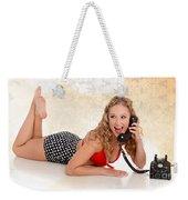 Pinup Girl On The Phone Weekender Tote Bag