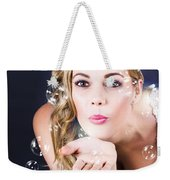 Playful Bride Blowing Bubbles At Wedding Reception Weekender Tote Bag
