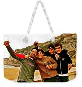 Portuguese Teens Wish A Happy New Year In Nazarre-portugal  Weekender Tote Bag