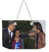 President Obama And Daughters Weekender Tote Bag