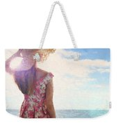Pretty Young Woman Looking Out To Sea Weekender Tote Bag
