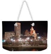 Providence Rhode Island Skyline At Night Weekender Tote Bag