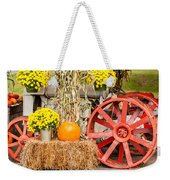 Pumpkins Next To An Old Farm Tractor Weekender Tote Bag