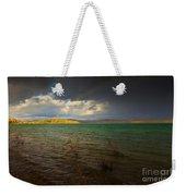 Rainbow And Dark Clouds Over Large Lake Weekender Tote Bag
