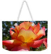 Rainbow Sorbet Rose Close Up Weekender Tote Bag by Denise Mazzocco