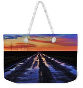 Rainy Highway Weekender Tote Bag