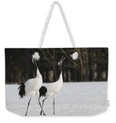 Red-crowned Cranes Courting Weekender Tote Bag