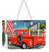 Red Dodge Pickup Truck Parked In Front Weekender Tote Bag