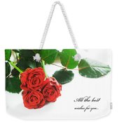 Red Fresh Roses On White Weekender Tote Bag