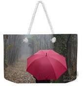 Red Umbrella In The Forest Weekender Tote Bag