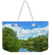 Reflection Of Trees And Clouds In South Weekender Tote Bag