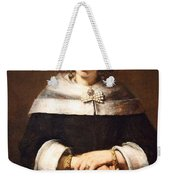 Rembrandt's Portrait Of A Lady With An Ostrich Feather Fan Weekender Tote Bag