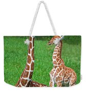 Reticulated Giraffe Calf With Mother Weekender Tote Bag