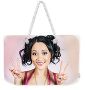 Retro Asian Girl Gesturing Peace Love And Hope Weekender Tote Bag