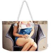 Retro Blond Beach Pinup Model With Elegant Look Weekender Tote Bag