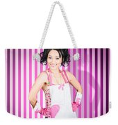 Retro Cleaning Service Maid With Smile Weekender Tote Bag