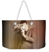 Retro Photographer Man Taking Photo With Camera Weekender Tote Bag