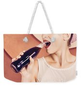 Retro Pin Up Pop Art. Soda Girl From 1950 Weekender Tote Bag