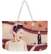 Retro Pinup Girl Holding Food And Drinks Tray Weekender Tote Bag
