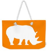 Rhino In Orange And White Weekender Tote Bag