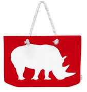 Rhino In Red And White Weekender Tote Bag