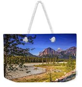 River And Mountains In Jasper Weekender Tote Bag