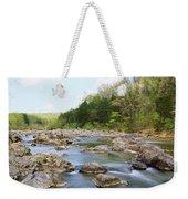 River Flowing Through Rocks, Black Weekender Tote Bag